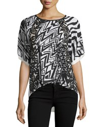 Alberto Makali Printed Crepe Top W Lace Insets Black Ivory