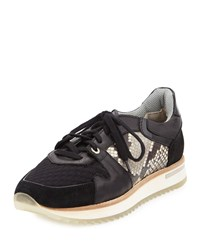 Aquatalia By Marvin K Aquatalia Nanette Mixed Leather Trainer Sneaker Black Size 40.5B 10.5B