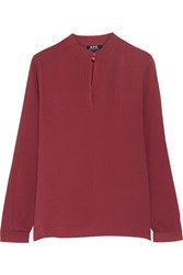 A.P.C. Atelier De Production Et De Creation Striped Silk Blouse Claret