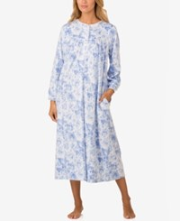 Lanz Of Salzburg Lace Trimmed Printed Microfleece Nightgown White Blue Floral