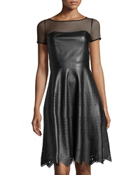 Catherine Catherine Malandrino Laser Cut Faux Leather Flare Skirt Dress Black