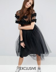 Reclaimed Vintage Tulle Dress With Smocking And Star Patches Black
