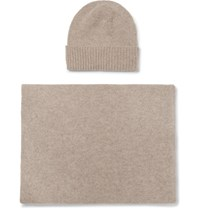 William Lockie Cashmere Beanie And Scarf Set Beige