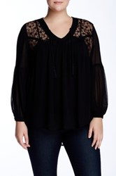 14Th And Union Sheer Lace Yoke Blouse Plus Size Black