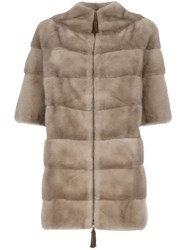 Liska Mink Fur Coat Nude And Neutrals