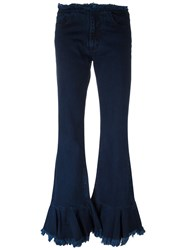 Marques Almeida Marques'almeida Flared Pleated Jeans Blue