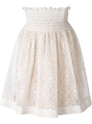 Red Valentino Elasticated Waistband Lace Skirt Nude And Neutrals