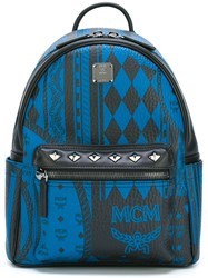 Mcm Studded Straps Medium Backpack Blue
