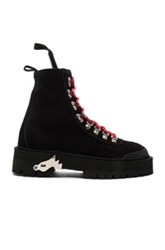 Off White Suede Hiking Mountain Boots In Black