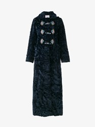Peter Pilotto Cotton Blend Long Coat Navy Silver Multi Coloured