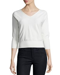 Milly 3 4 Sleeve V Neck Pullover White