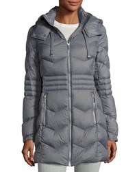 French Connection Quilted Puffer Hooded Coat Gray