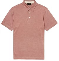 Dunhill Slim Fit Cotton And Silk Blend Polo Shirt Pink