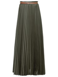 Jolie Moi Crepe Pleated Maxi Skirt Soldier Green