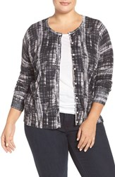 Sejour Plus Size Women's Print Crewneck Cardigan White Black Print