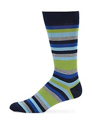 Saks Fifth Avenue Striped Cotton Blend Socks Navy