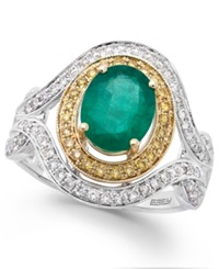 Effy Collection Brasilica By Effy Emerald 1 1 2 Ct. T.W. And Diamond 1 2 Ct. T.W. Oval Ring In 14K White And Yellow Gold