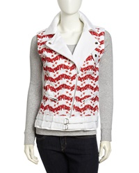 Rebecca Minkoff Jodi Printed Moto Vest White Burnt Orange