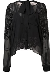 Loyd Ford Embellished Sleeves Sheer Blouse Black