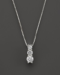 Bloomingdale's Diamond Three Stone Pendant Necklace In 14K White Gold .20 Ct. T.W.