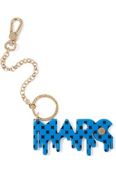 Marc By Marc Jacobs Gold Tone Resin Keychain Blue