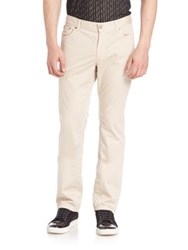 Versace Solid Straight Leg Pants Beige