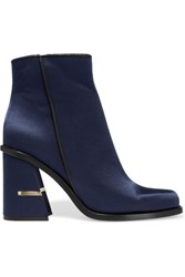 Tibi Nora Leather Trimmed Satin Ankle Boots Navy