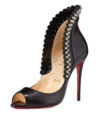 Christian Louboutin Roucouloucou Studded Red Sole Pump Black Black Silver