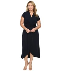 Michael Michael Kors Plus Size Cap Sleeve Maxi Wrap Dress New Navy Women's Dress