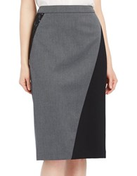 Ellen Tracy Lace Inset Pencil Skirt Grey