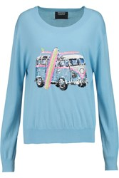 Markus Lupfer Joey Sequin Embellished Cotton Sweater Blue
