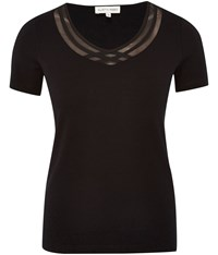 Austin Reed Chiffon Detail Jersey Top Black