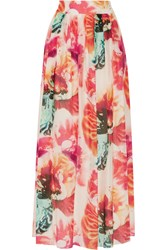 Alice Olivia Gemna Floral Print Cotton And Silk Blend Maxi Skirt White