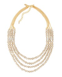 Emily And Ashley Four Strand Crystal Necklace Grey Gold