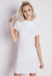 Missguided Textured High Neck Short Sleeve Bodycon Dress White White