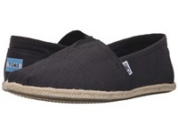 Toms Rope Sole Classics Washed Black Linen Rope Sole Men's Slip On Shoes