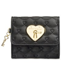 Betsey Johnson Swag Heart French Wallet Black