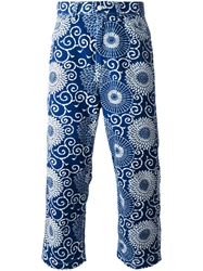 Junya Watanabe Comme Des Garcons Man Cropped Floral Print Trousers Blue