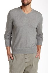 James Perse Long Sleeve V Neck Sweater Gray