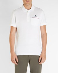 Le Coq Sportif White Tricolour Pocket Polo Shirt