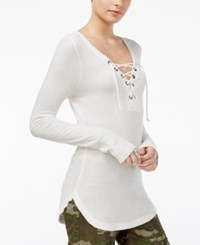 William Rast Gordon Revival Lace Up Top Marshmallow
