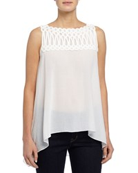 Max Studio Sleeveless Georgette Blouse W Mesh And Embroidered Detail Ivory