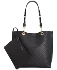 Calvin Klein Medium Quilted Reversible Tote With Pouch Black Red Quilt