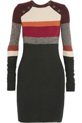 Etoile Isabel Marant Duffy Striped Wool Mini Dress Forest Green