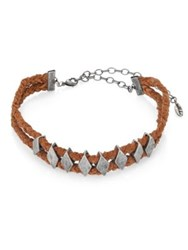 Ettika Metal And Leather Braided Choker Brown