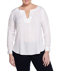 Tart Plus Rae Long Sleeve Woven Knit Combo Top White. Women's
