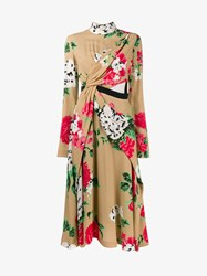Msgm High Neck Floral Printed Dress Beige Multi Coloured White Green Black