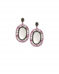 Bavna Moonstone Composite Ruby And Diamond Oval Drop Earrings