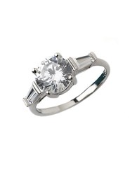 Lord And Taylor Sterling Silver Cubic Zirconia Three Stone Ring