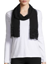 Cejon Beaded Sheer Scarf Black